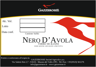 Nero d'Avola label