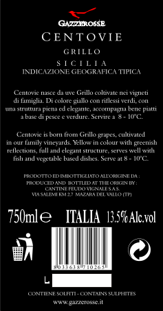 Centovie Grillo back label
