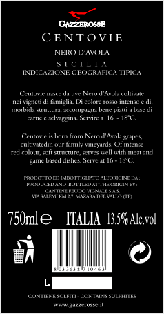 Centovie Nero d' Avola back label