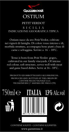 Ostium Petit Verdot back label
