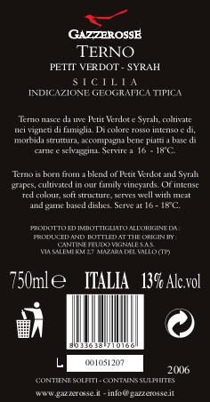 Etichetta del Terno Petit Verdot Syrah retro