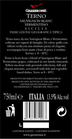 Etichetta del Terno Sauvignon Bianco Vermentino retro