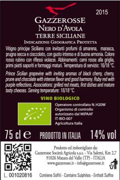 Etichetta del Nero d' Avola retro
