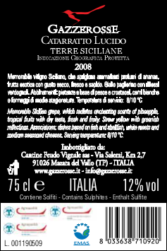 Catarratto Lucido back label